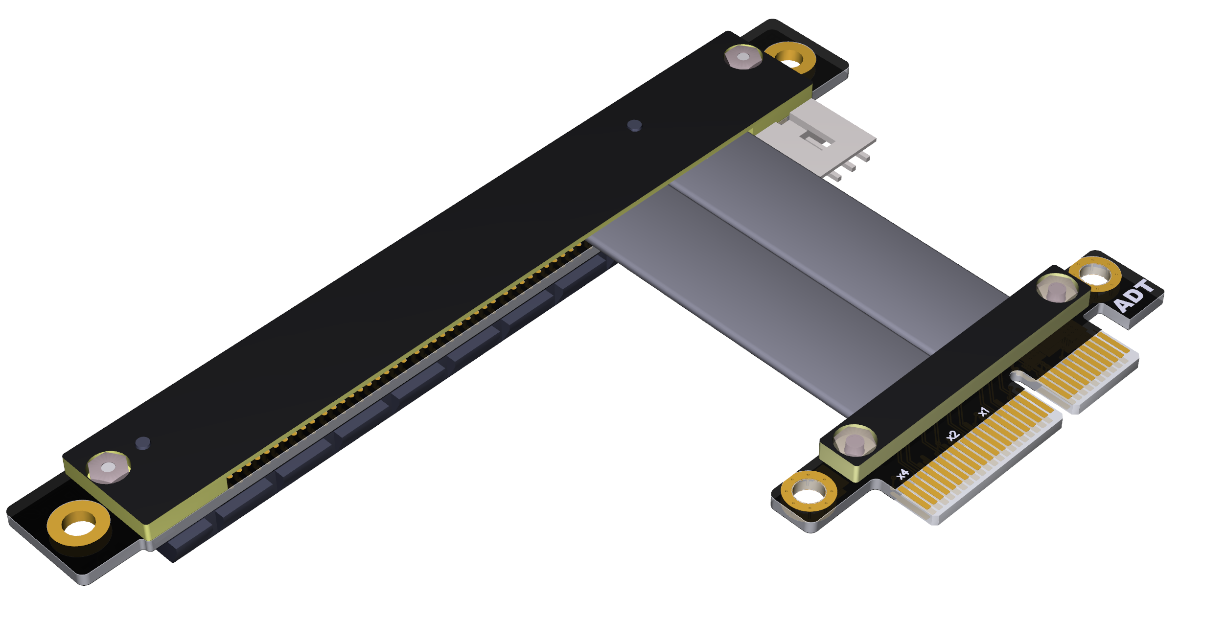 5CM ADT-Link PCIe 3.0 x4 Extension Cable 32G//BPS PCI Express 4X Graphic SSD RAID Extender Conversion Riser Card Vertical 270 R22SR